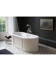 Freistehende Badewanne London mit Paneelenverkleidung, Weiß