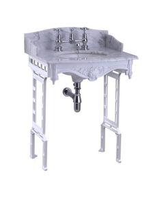 Carrara Marmor Waschtisch mit weißem Aluminium Untergestell