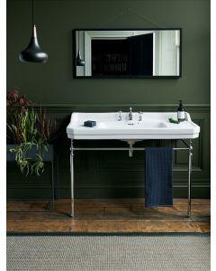 Waschbecken Edwardian 120 cm mit Metallunterbau Chrom