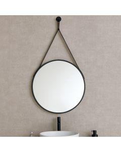 Runder Spiegel mit Ledergürtel