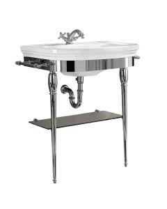 Metallunterbau mit Glasablage für Waschbecken Carlyon